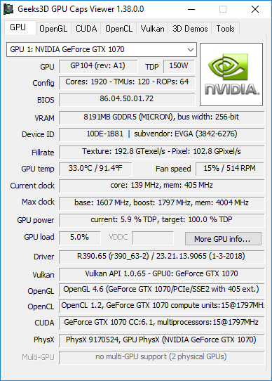 GPU Caps Viewer 1.38.0 + GeForce GTX 1070