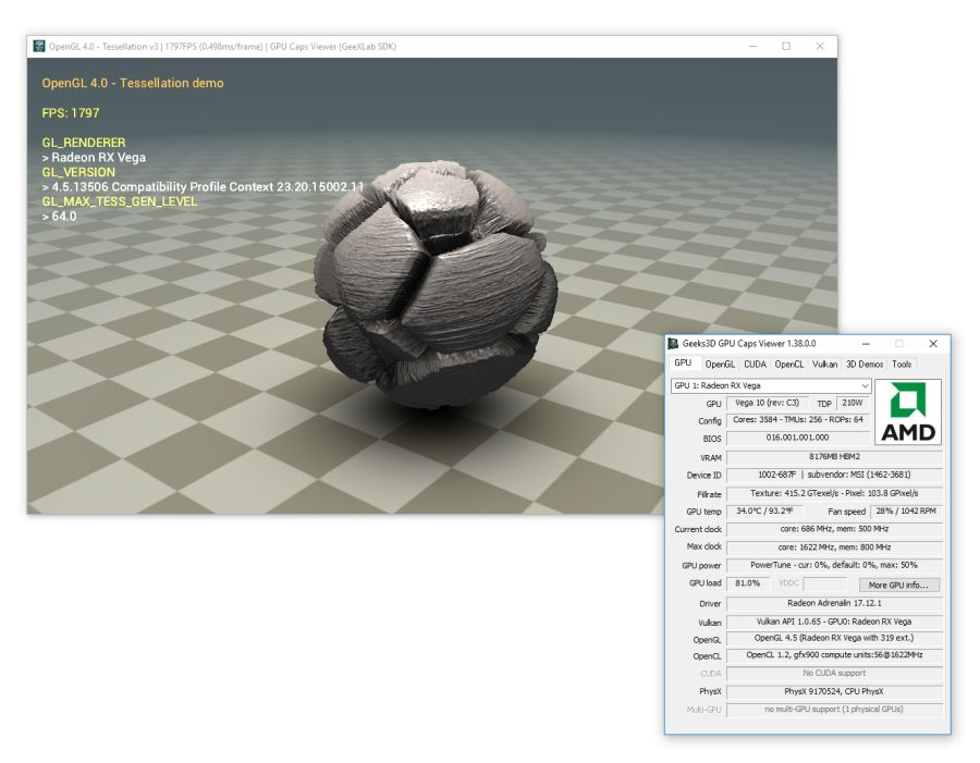 GPU Caps Viewer 1.38.0 - GeeXLab SDK OpenGL 4.0 demo