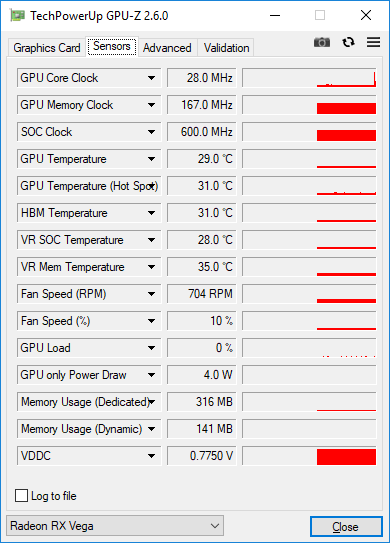 MSI Radeon RX Vega 56 AIR BOOST 8GB OC - GPU-Z - sensors