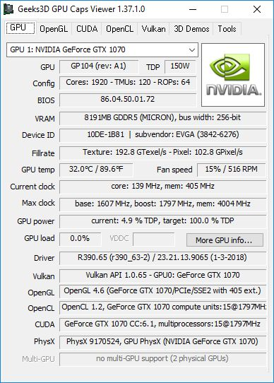 NVIDIA GeForce 390.65 + GPU Caps Viewer + GTX 1070