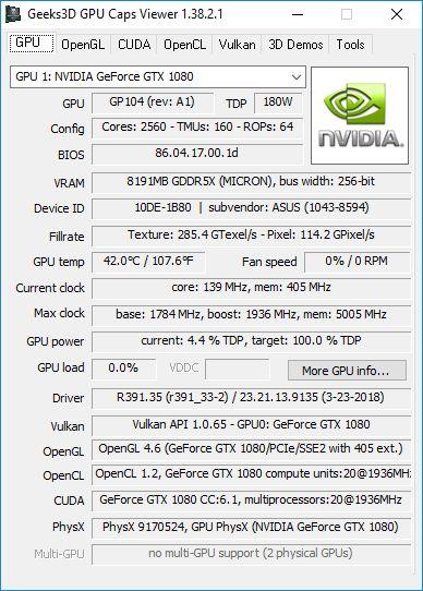 NVIDIA GeForce 391.35 + GPU Caps Viewer + GTX 1080