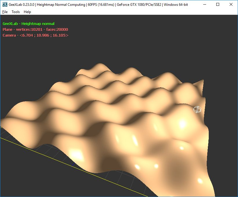 GeeXLab demo - Heightmap Normal Computing - Analytic Formula
