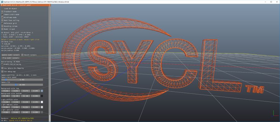 SYCL 3D logo - GeeXLab MadView3D