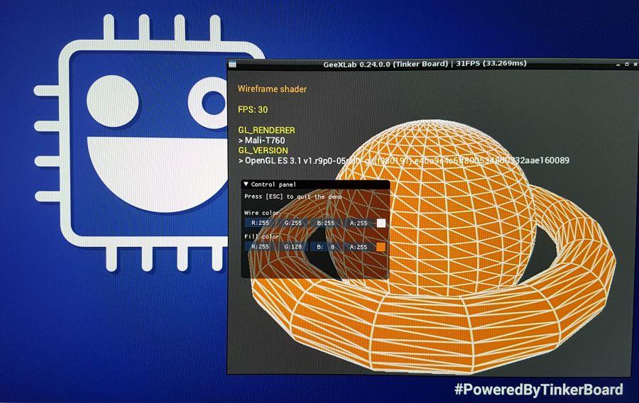GeeXLab - 3D demo - Wireframe shader OpenGL ES 3.1 - ASUS Tinker Board