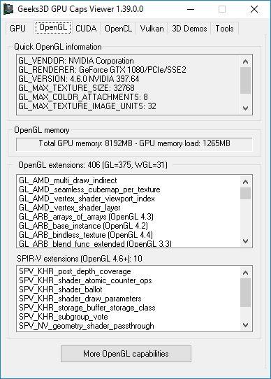 GPU Caps Viewer 1.39.0 - OpenGL panel