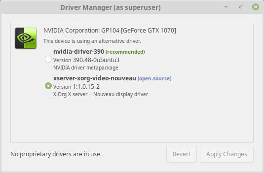 Linux Mint 19 TARA - driver manager