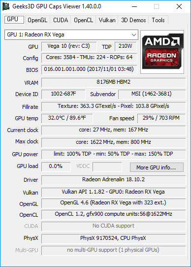 GPU Caps Viewer 1.40.0 - Radeon RX Vega 56