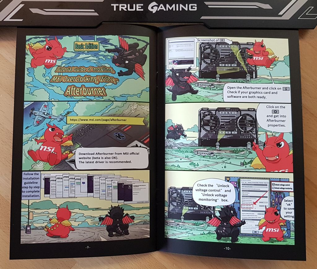 MSI mini-book for graphics card installation with Lucky the dragon