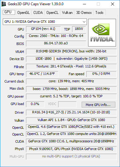 NVIDIA GeForce 416.34 + GPU Caps Viewer + GTX 1080