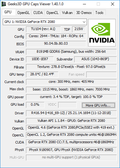 GPU Caps Viewer 1.40.1 - GeForce RTX 2080