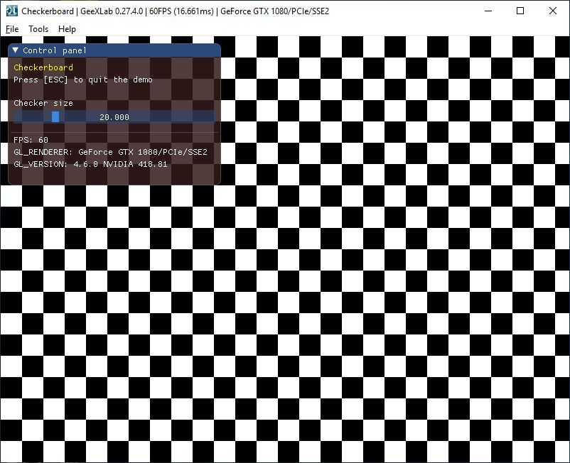 GeeXLab GLSL checkerboard demo