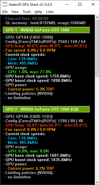 GPU Shark 0.12.0 - GeForce GTX 1080 + GTX 1060