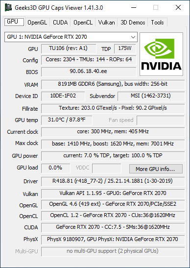 NVIDIA GeForce 418.81 + GPU Caps Viewer + RTX 2070