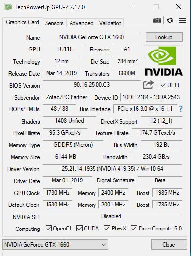 NVIDIA GeForce GTX 1660 6GB - GPU-Z
