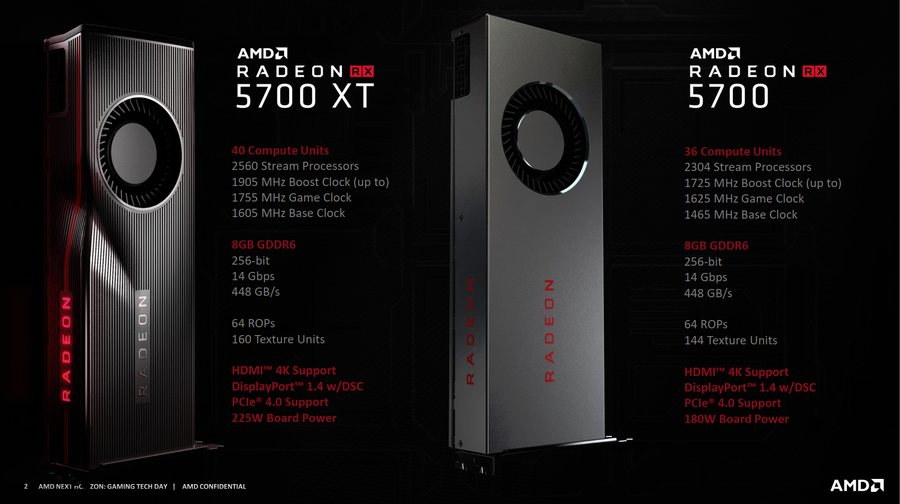 AMD Radeon RX 5700 XT and RX 5700 specs