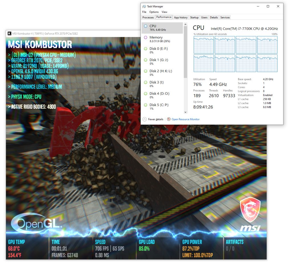 MSI Kombustor 4 - PhysX 4 CPU rigid bodies