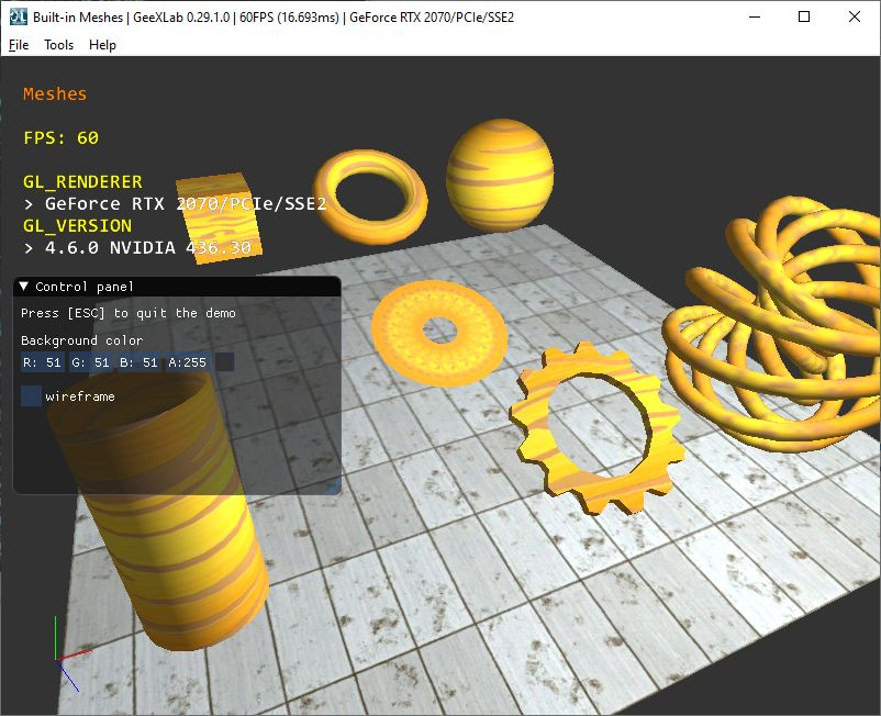 GeeXLab OpenGL 2.1 demopack - built-in meshes
