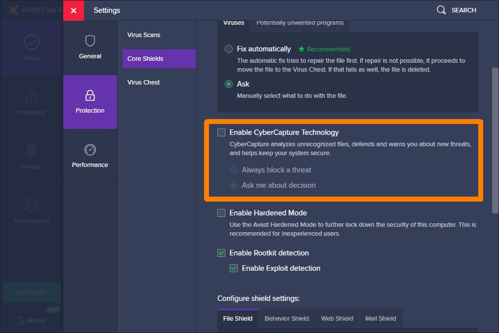 Avast antivirus - how to disable CyberCapture