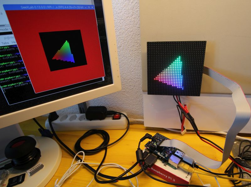 RGL LED matrix 32x32 panel - GeeXLab demo on Raspberry Pi