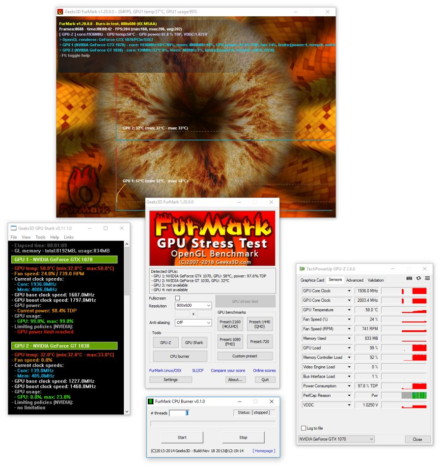 FurMark 1.20 with all GPU tools