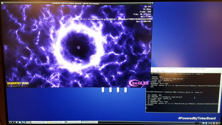 GeeXLab for Tinker Board - OpenGL ES test