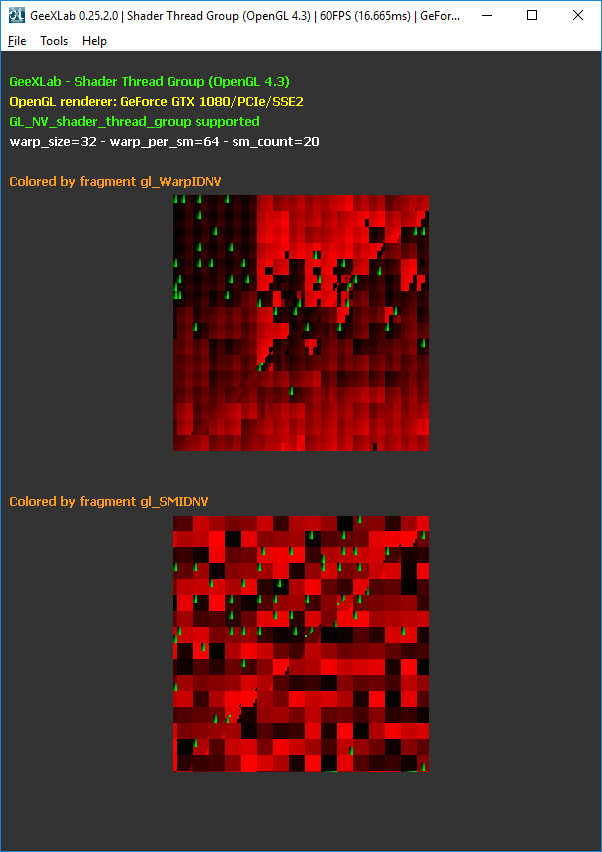 GeeXLab - Visualizing NVIDIA gl_ThreadInWarpNV, gl_WarpIDNV and gl_SMIDNV (GL_NV_shader_thread_group)