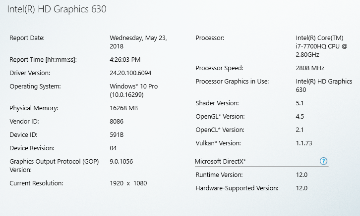 Intel HD Graphics driver - software information