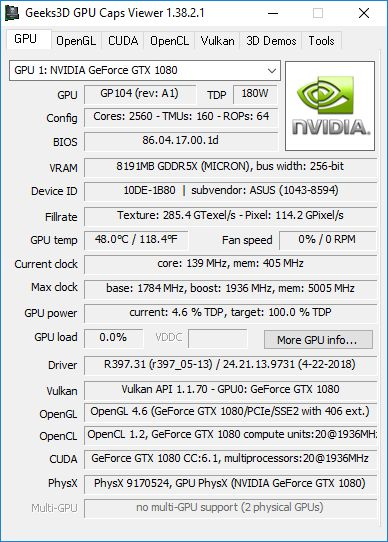 NVIDIA GeForce 391.35 + GPU Caps Viewer + GTX 1080