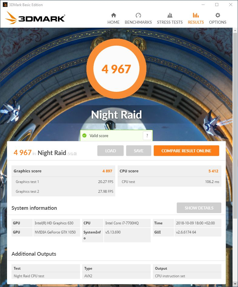 3DMark Night Raid DX12 gaming benchmark - Intel HD 630 GPU