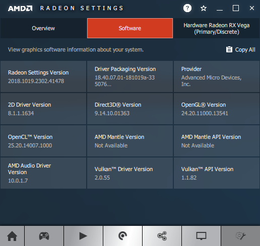 AMD Adrenalin 18.10.2 - software information - Radeon RX Vega 56