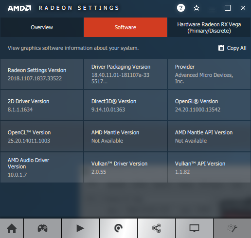 AMD Adrenalin graphics driver information