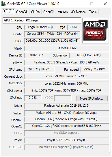 AMD Adrenalin 18.12.3 - GPU Caps Viewer information