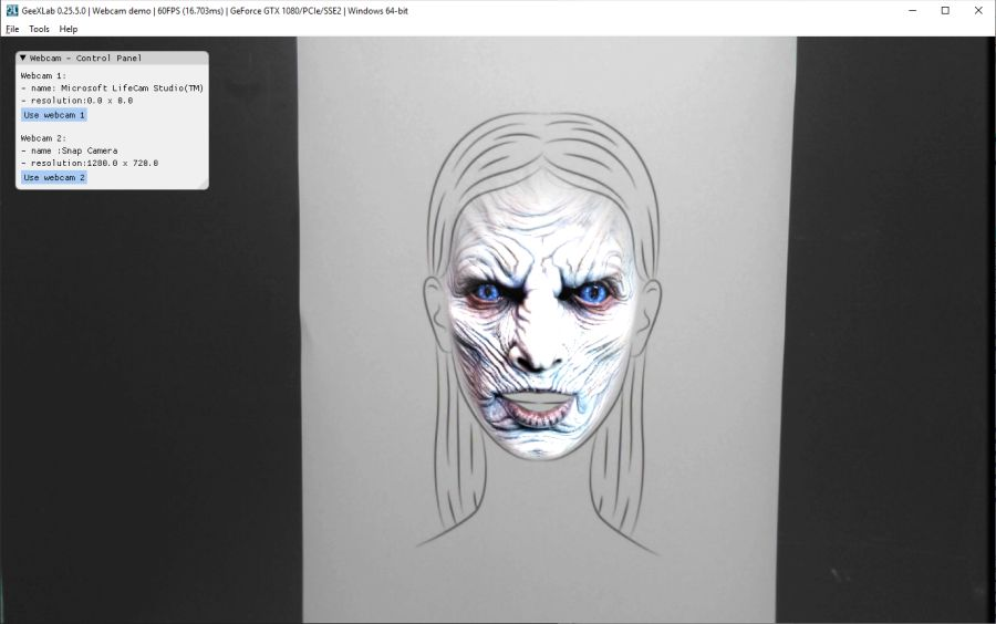 GeeXLab with Snap Camera - White Walker lense