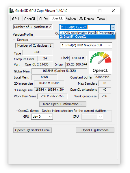 OpenCL support enabled for Intel, GPU Caps Viewer