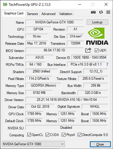 GPU-Z 2.13.0 + GeForce GTX 1080