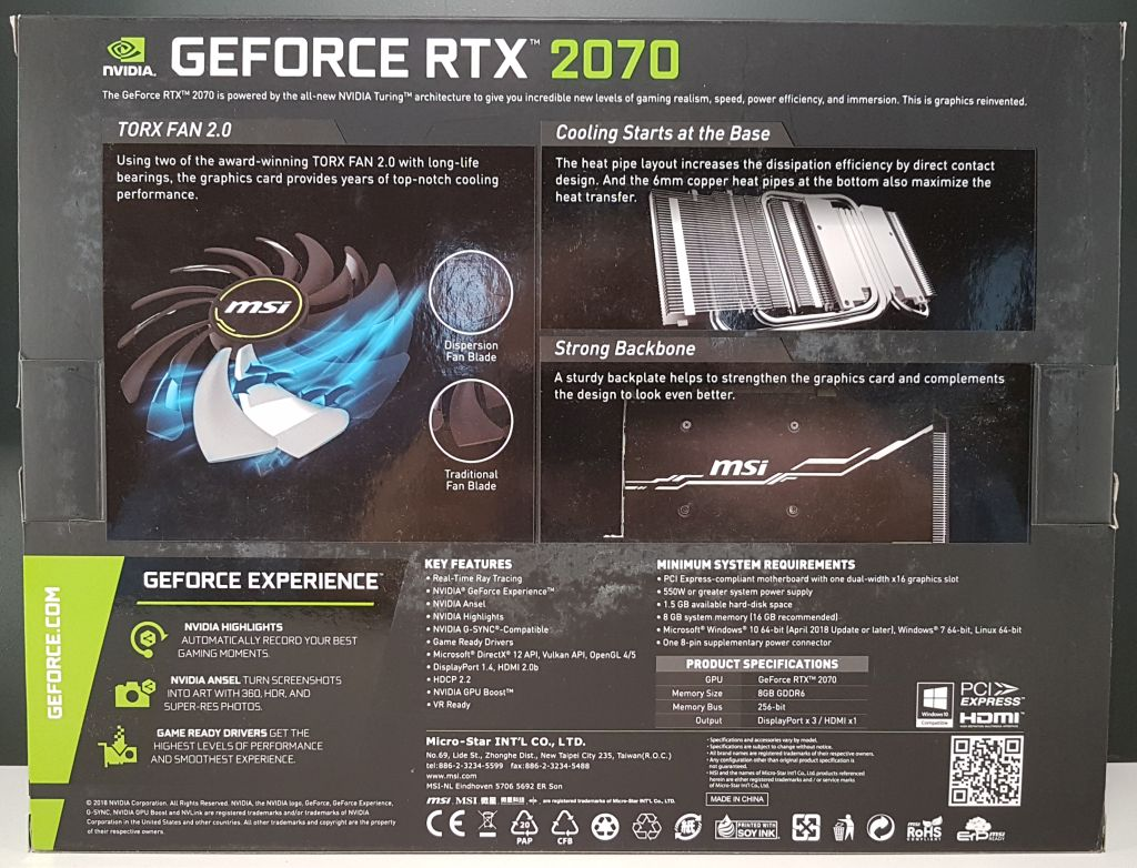MSI GeForce RTX 2070 Ventus 8GB GDDR6 Review (Turing TU106 GPU