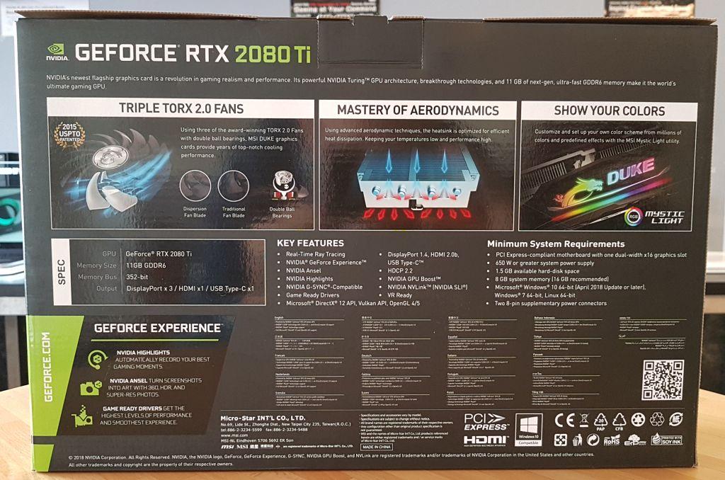 Unboxing) MSI GeForce RTX 2080 Ti Duke 11GB GDDR6 OC | Geeks3D