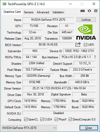 GPU-Z 2.16.0 + GeForce RTX 2070