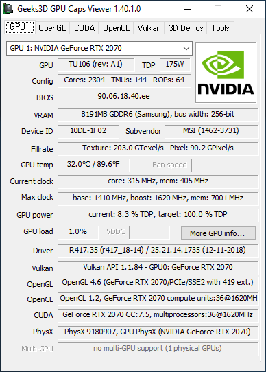 GeForce 417.35 driver - GPU Caps Viewer + GeForce RTX 2070