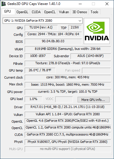 GPU Caps Viewer + GeForce RTX 2080