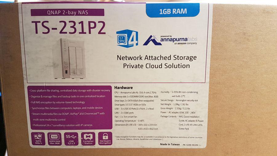 QNAP TS-231P2 box