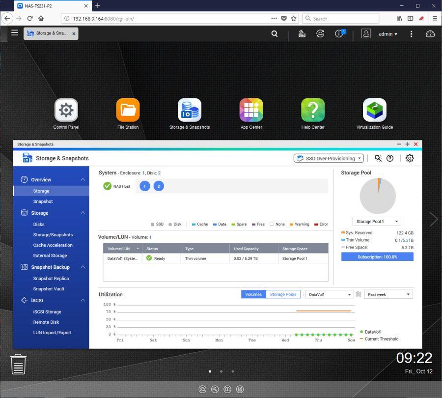 QNAP TS-231P2 - QTS desktop