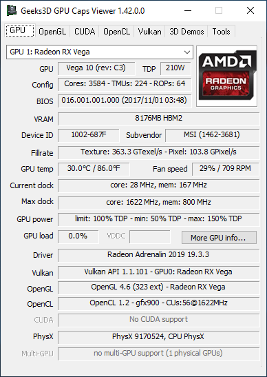 GPU Caps Viewer 1.42.0 - GPU panel + Radeon RX Vega 56