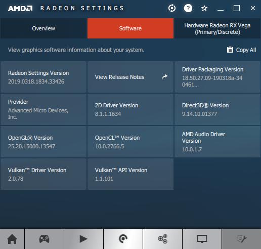 AMD Adrenalin software information panel