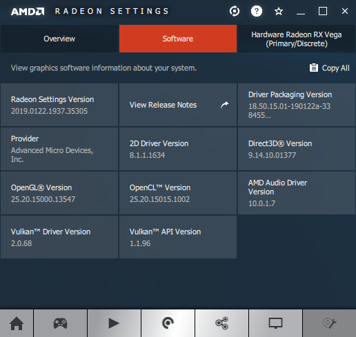 AMD Adrenalin 19.1.2 + Radeon RX Vega 56