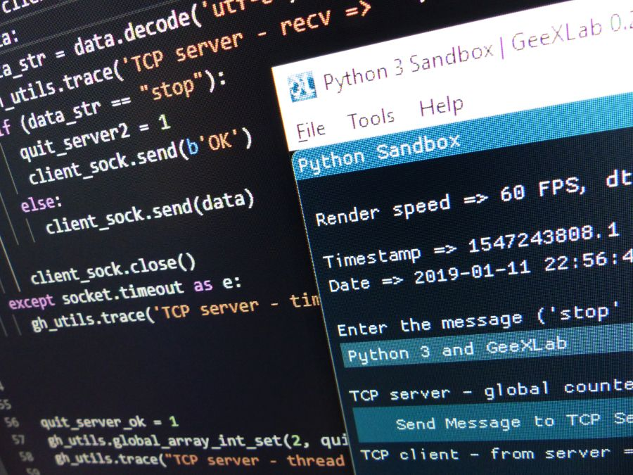 Python 3 socket module - TCP server with GeeXLab