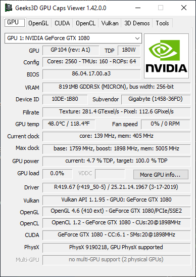 GPU Caps Viewer 1.42.0 - GPU panel + GeForce GTX 1080