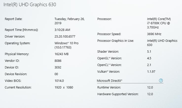 Intel graphics driver v6577 information + UHD 630