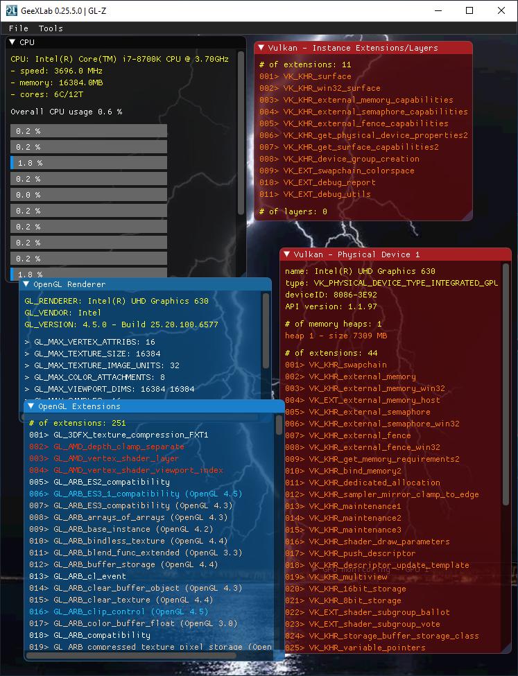 Intel graphics driver v6577 + UHD 630 + GL-Z (OpenGL + Vulkan)