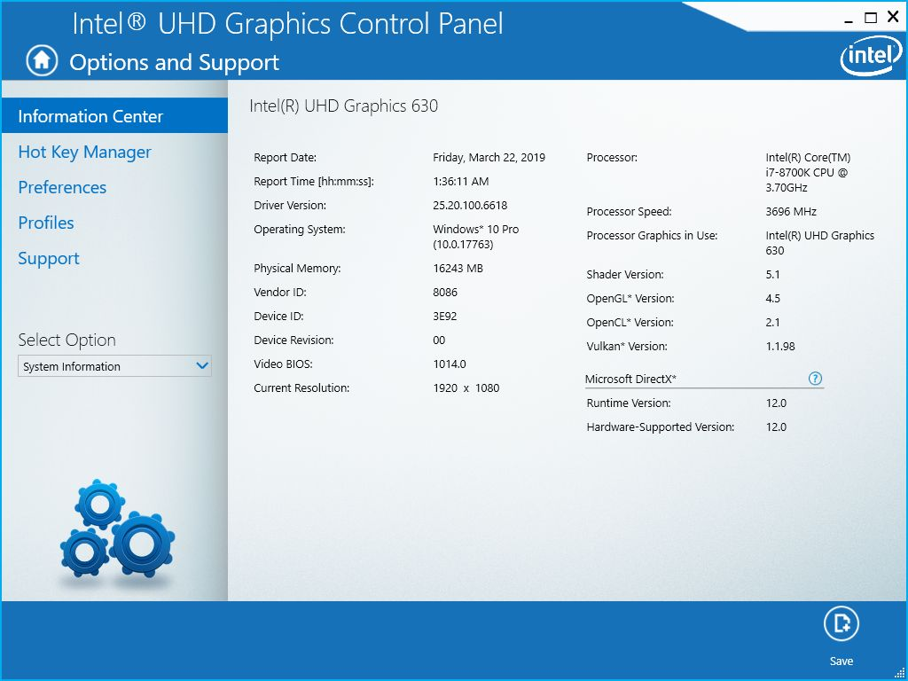 Intel graphics driver information